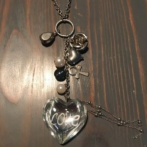 Wet seal long charm necklace
